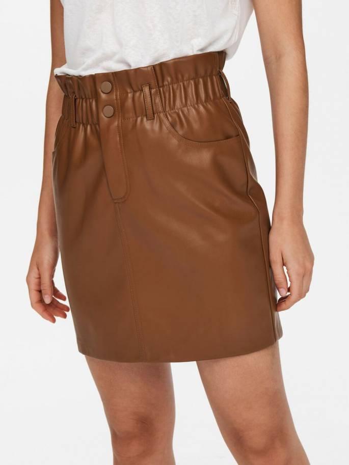 Falda de cuero sintético marrón - Mujer - Uesti