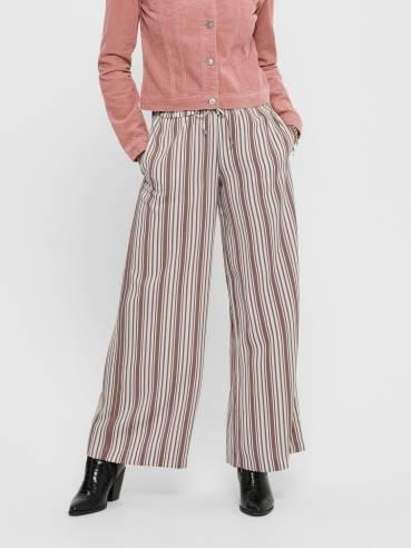 Pantalones de rayas de corte holgado marrones - Only - 15191504