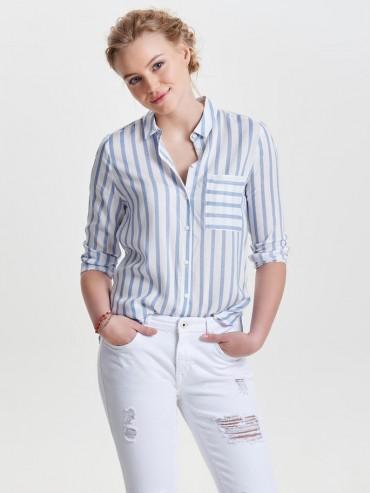 Candy Camisa de rayas de manga larga azul - Only - 15132025