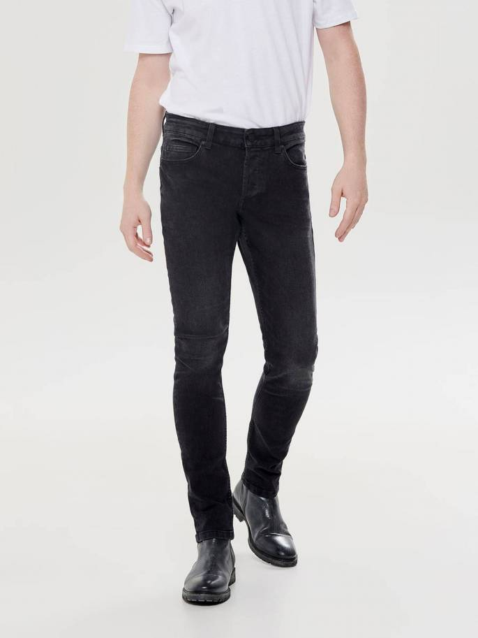 slim Only sons and desgastado 22011457 tapered Jeans fit negro S6nRTqqf