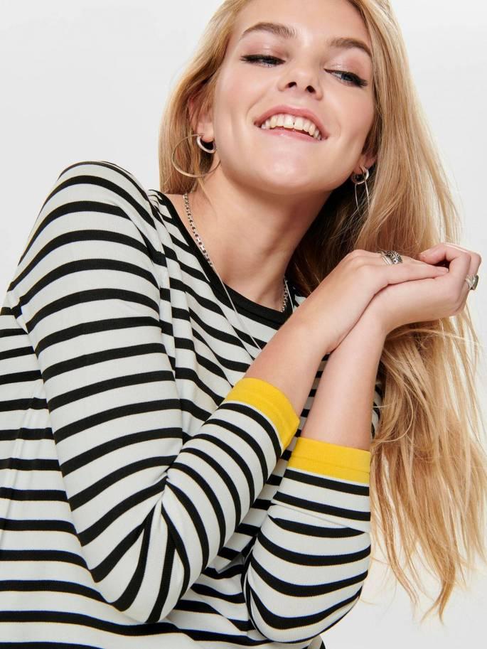 Suzana Jersey de punto de rayas blanco y negro - Only - 15150883