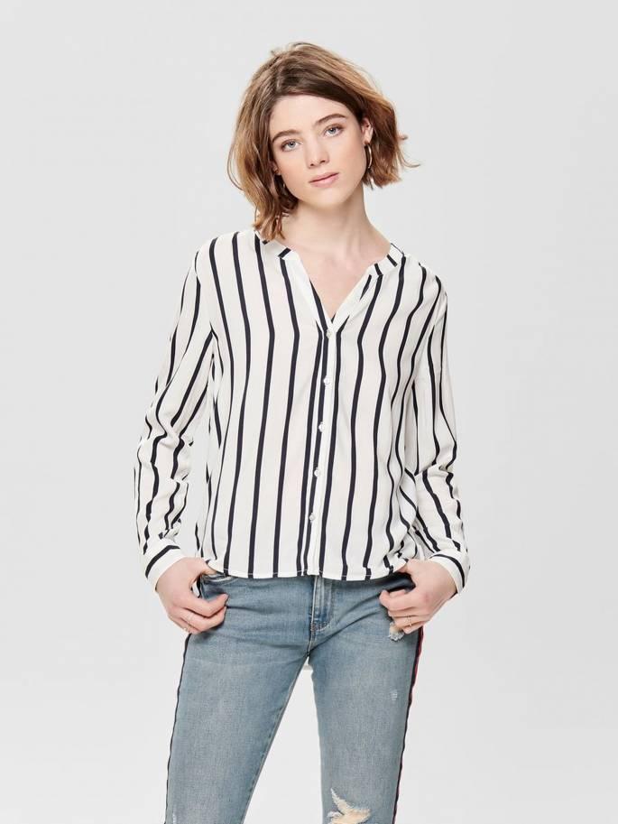 55e0fee6b15 Sugar Camisa blanca de Rayas y Corte Holgado - Mujer - Uesti