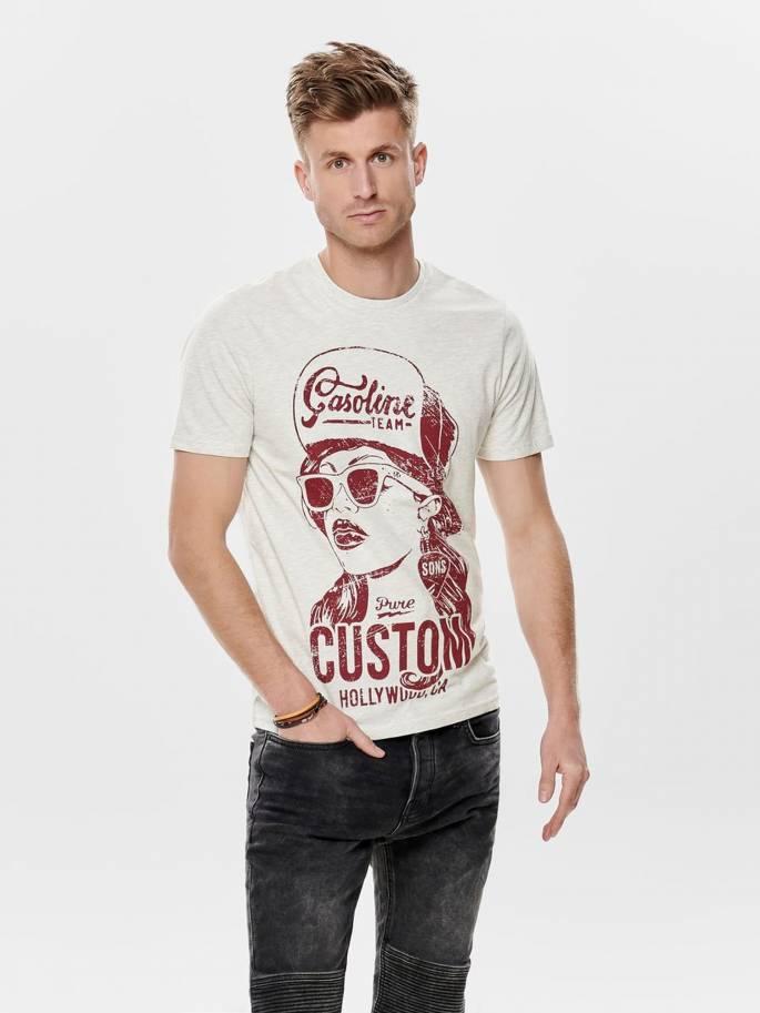 Elmo con estampado frontal de Gasoline team camiseta - Only and sons - 22012242 - Uesti