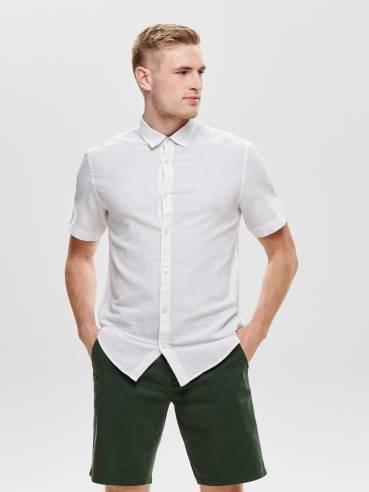 Camisa básica de lino blanca - Only and Sons - 22009885 - Uesti