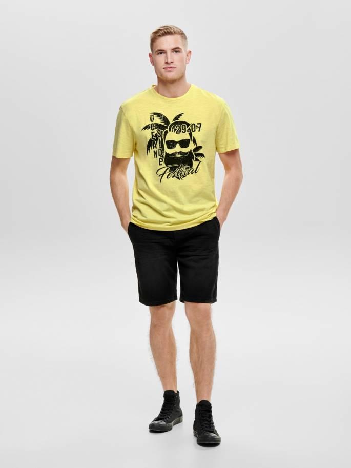 c7badbfa1 Camiseta con estampado frontal amarilla - Hombre - Uesti