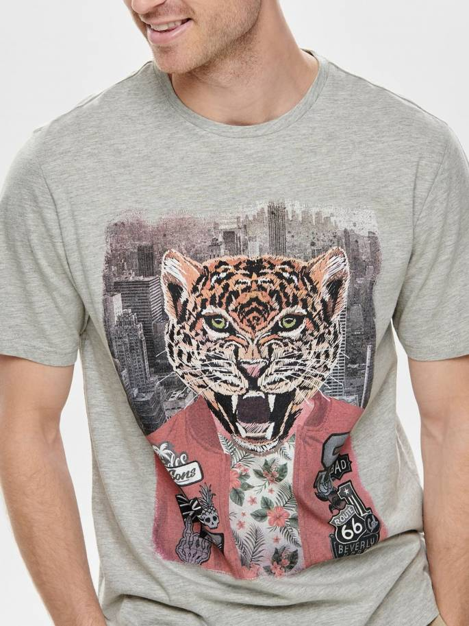 Camiseta con estampado de leopardo - 22012566 - Uesti