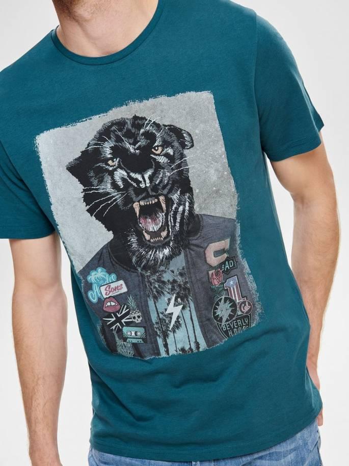 Camiseta con estampado de pantera - 22012566 - Uesti