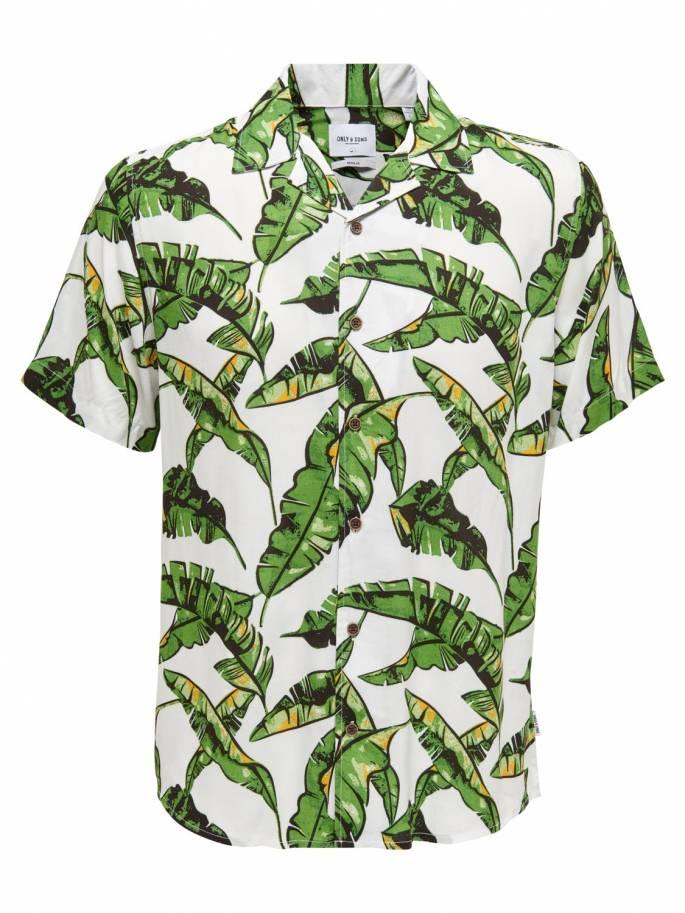 Camisa blanca con estampado de hojas - 22012696 - Uesti