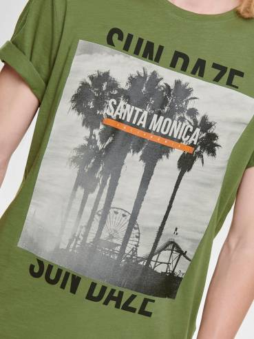 Camiseta con estampado de palmeras verde - Only and sons - 22012581 Uesti