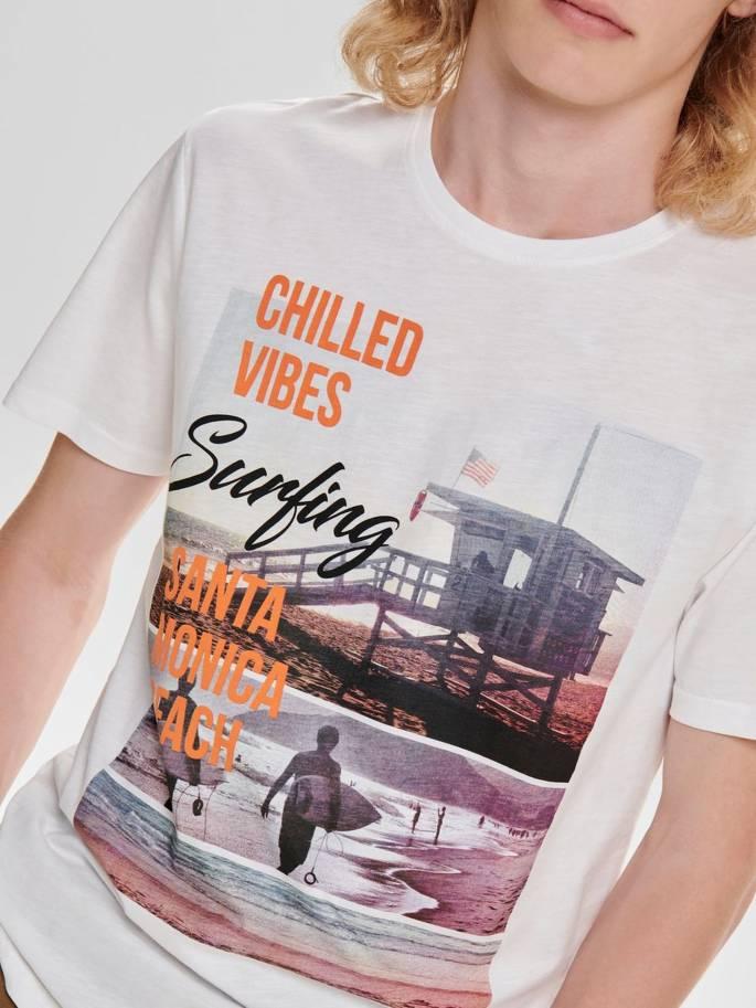 Camiseta con estampado de surfista blanca - Only and sons - 22012581 Uesti