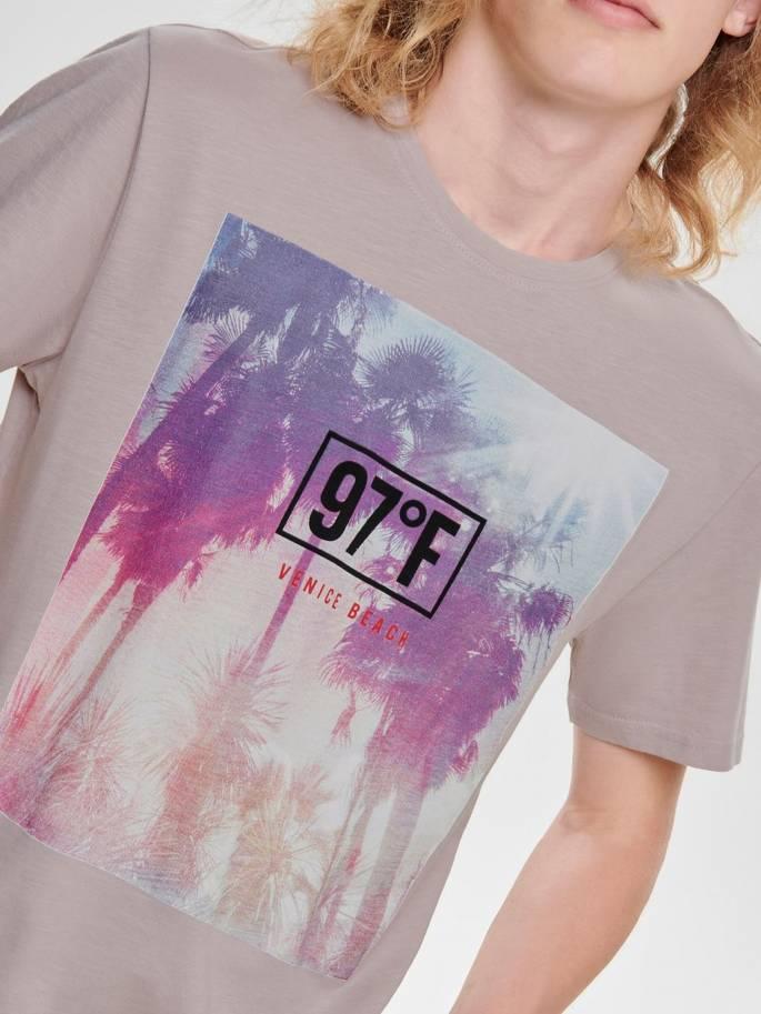 Camiseta con estampado de palmeras gris - Only and sons - 22012581 - Uesti