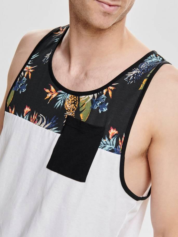 Camiseta de tirantes con estampado de hojas y piñas - Uesti