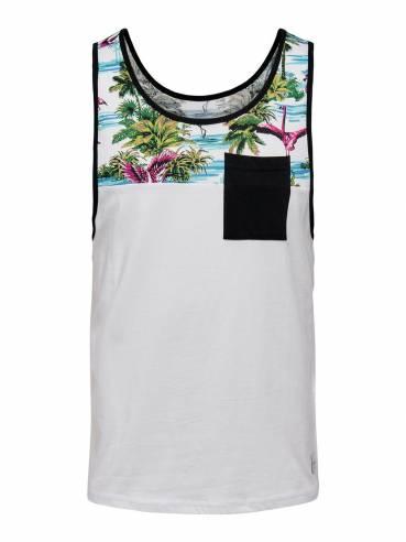 Camiseta de tirantes con estampado de flamingos - Uesti
