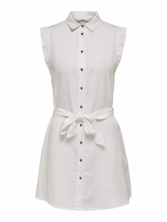 Blanco vestido camisero sin mangas - Only - 15180733 - Uesti