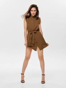 Vestido camisero marrón sin mangas - Only - 15180733 - Uesti