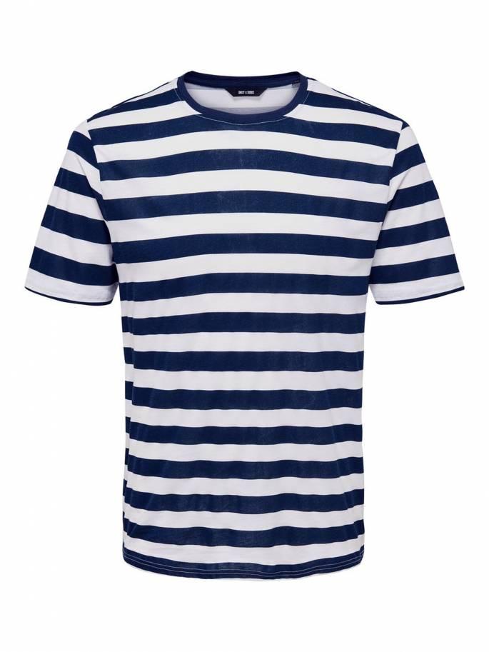 Camiseta de rayas azul y blanca - Only and sons - Uesti