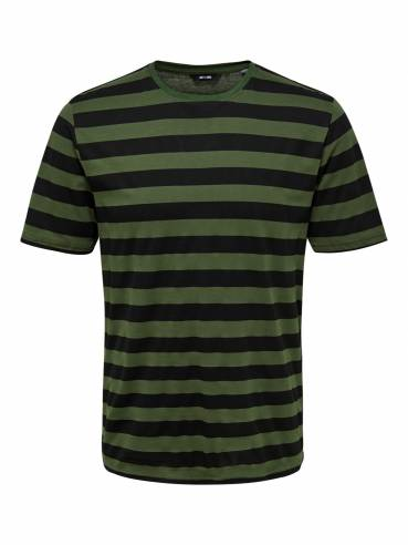 Camiseta de rayas verde oliva - Only and sons - Uesti