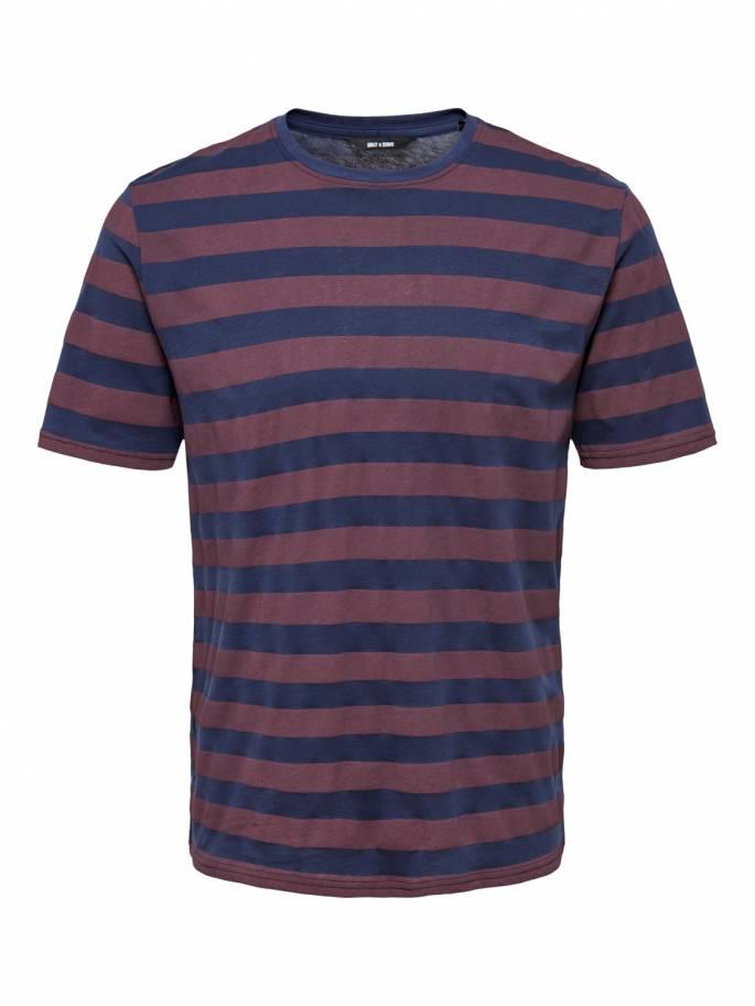 Camiseta de rayas azul marino y burdeos - Only and sons - Uesti