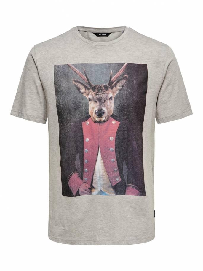 979c7d578 Camiseta con estampado de ciervo militar - Only and sons - 22013845 - Uesti  ...