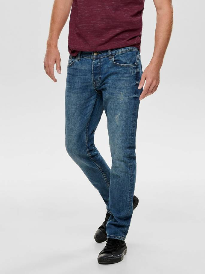 Jeans slim fit con rotos decorativos por delante y por detrás - Only and sons - Uesti