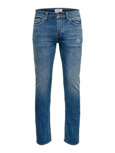 Jeans slim fit con rotos decorativos por delante y por detrás - Only and sons - Uesti