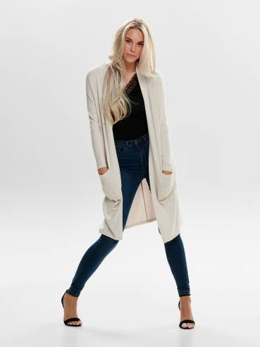 Cardigan largo de corte ancho beige - 15179826 - Only - Uesti