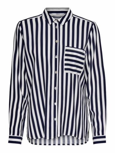 Camsia de corte holgado con rayas en azul - 15161132 - Only - Uesti