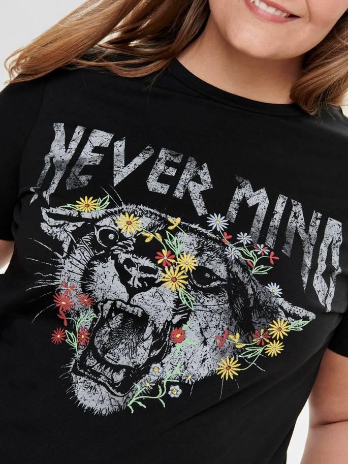 Camiseta de tallas grandes para mujer con estampado frontal - Uesti