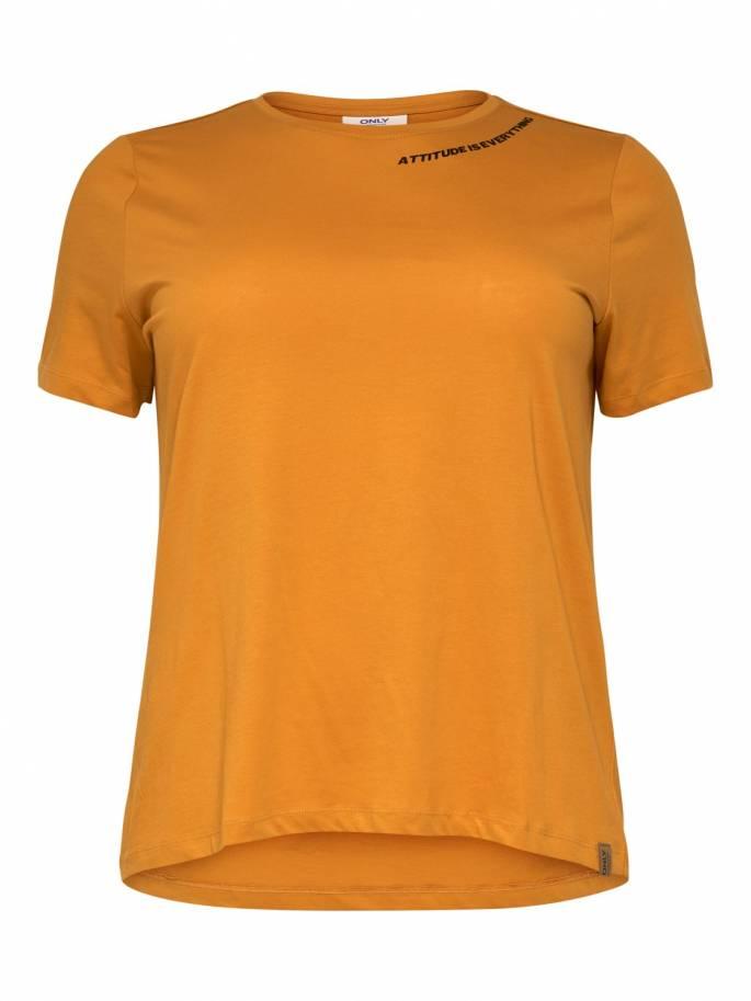 Camiseta básica de tallas grandes para mujer con estampado en el cuello - Uesti