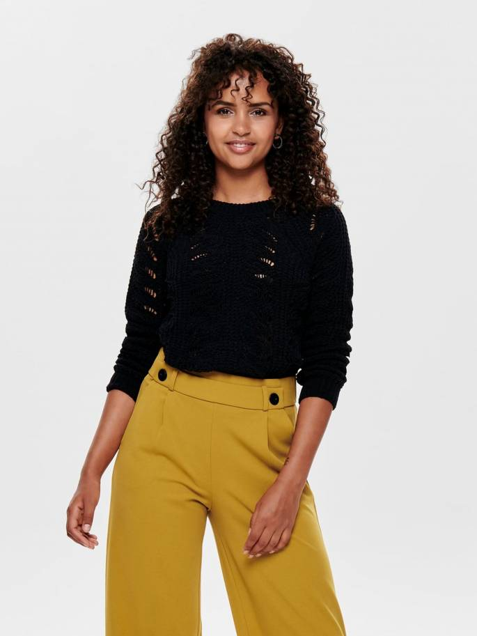 Jersey de punto texturizado en color negro - Only - 15179820 - Uesti