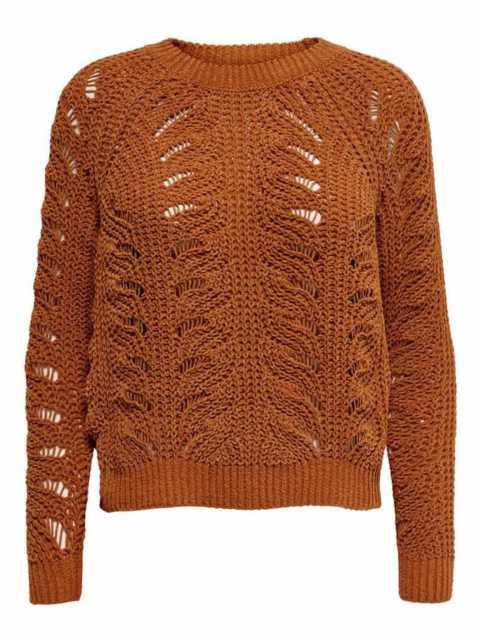 Jersey de punto texturizado en color marrón - Only - 15179820 - Uesti