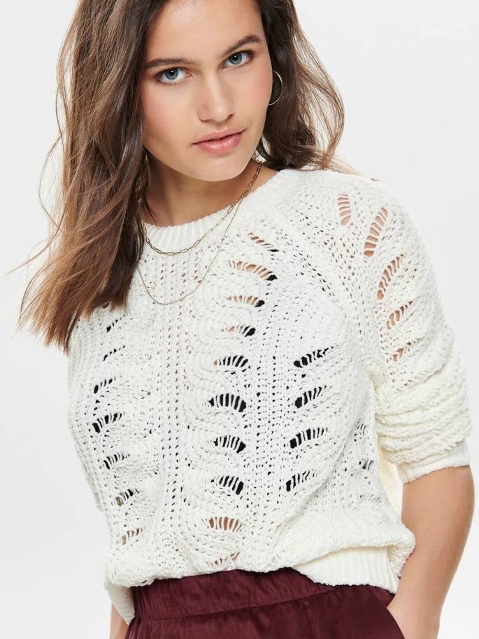 Jersey de punto texturizado en color blanco - Only - 15179820 - Uesti