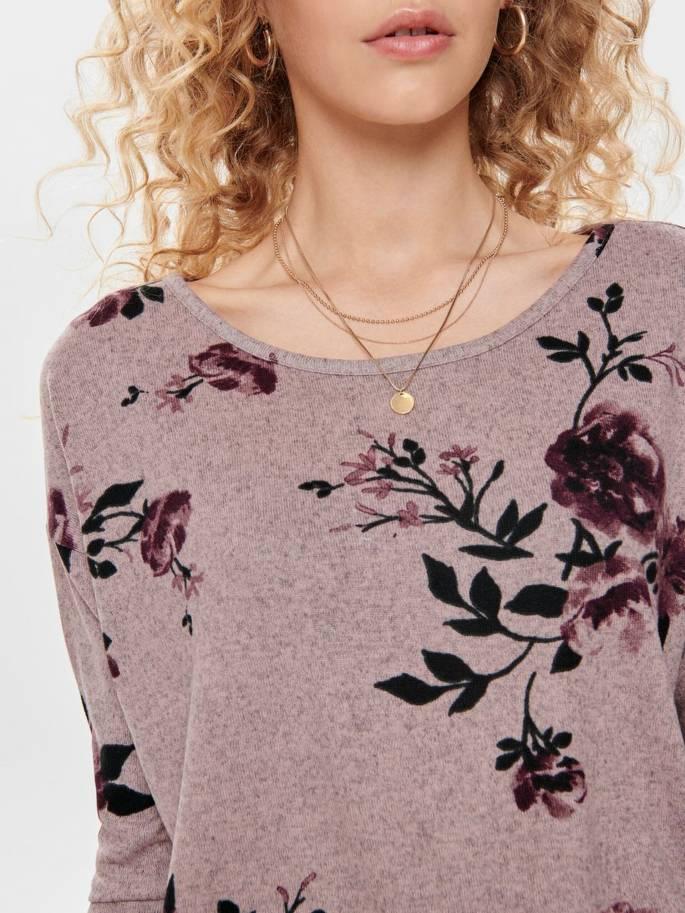 Elcos jersey con estampado de rosas de corte holgado - Only - Uesti