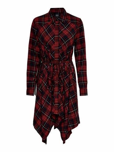Vestido camisero con estampado de cuadros - Only - Uesti