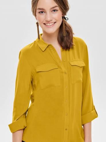 Camisa de manga 3/4 con manga vuelta amarilla - Only - Uesti