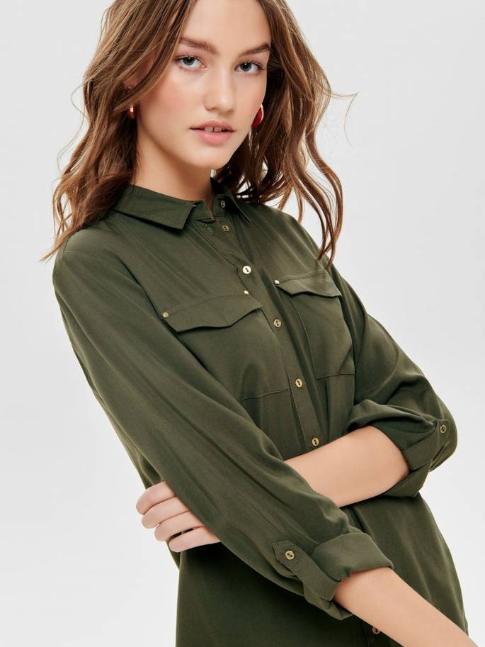 Camisa de manga 3/4 con manga vuelta verde - Only - Uesti