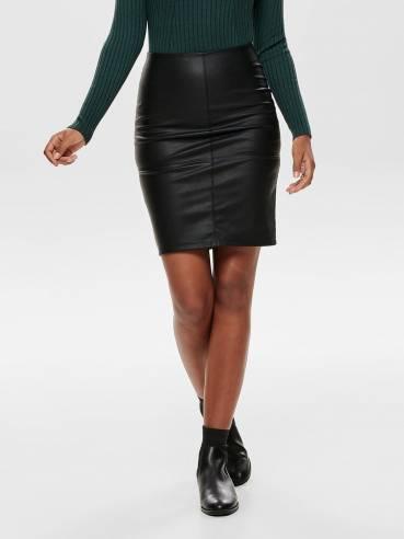 Falda de tubo de cuero sintético negra - Only - Uesti