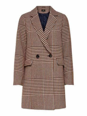Abrigo de lana con estampado principe de gales - Only - Uesti
