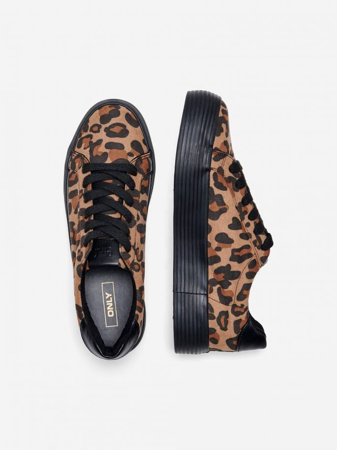 Zapatillas con estampado de leopardo y cuña - Only - Uesti