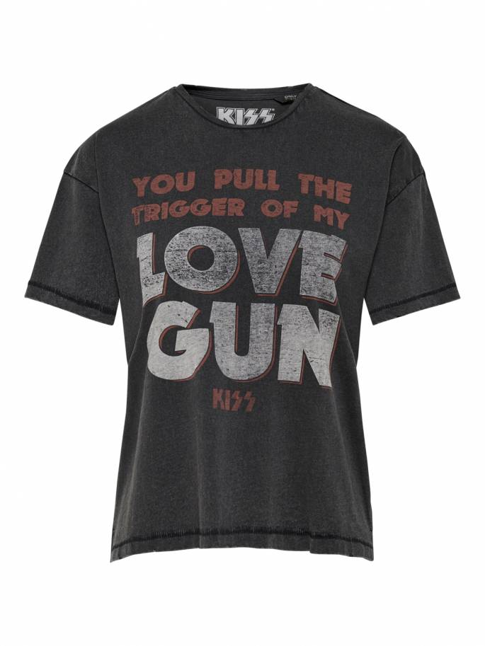Camiseta kiss con estampado you pull the trigger of my love gun negra - Uesti