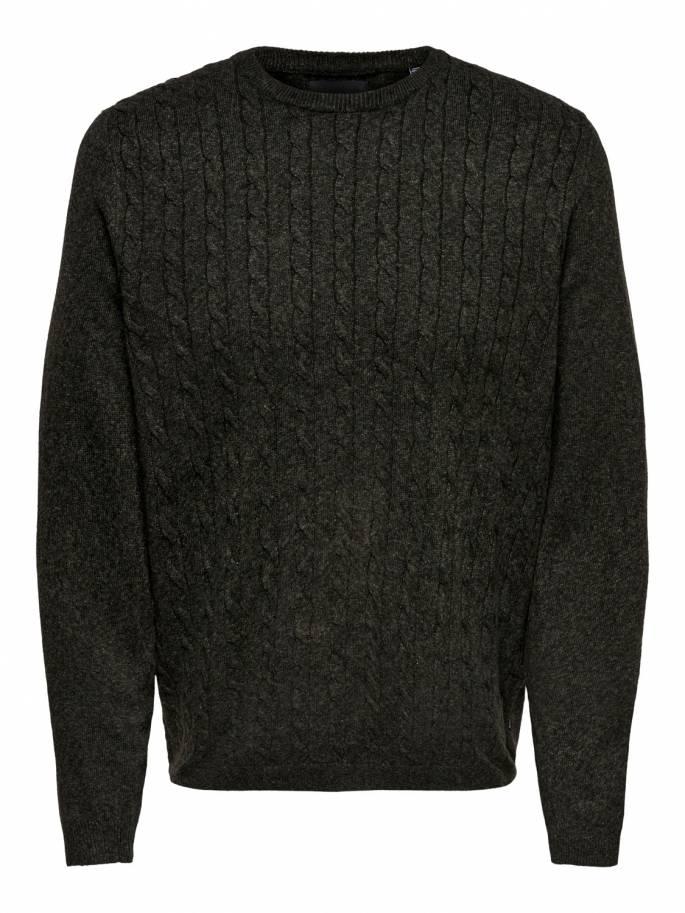 Jersey de punto trenzado color negro - only and sons - 22013234