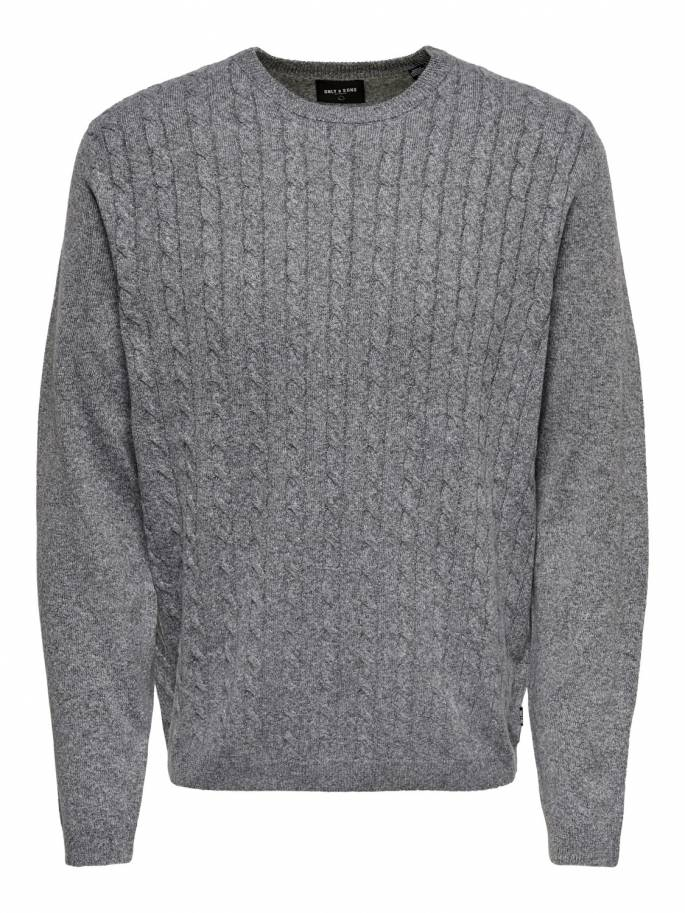 Jersey de punto trenzado color gris - only and sons - 22013234