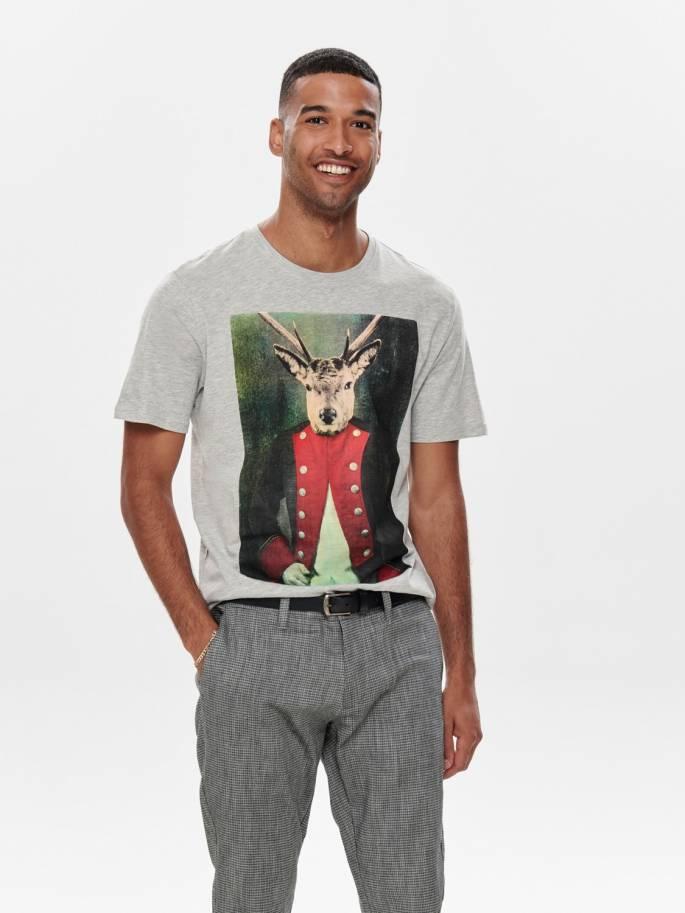 Camiseta con estampado de ciervo militar - Only and sons - 22013845 - Uesti