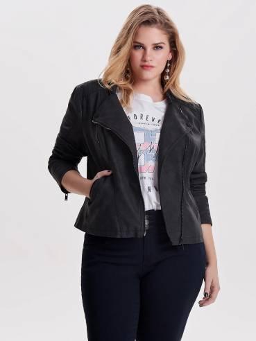 Chaqueta de cuero sintetico de tallas grandes para mujer - Only - 15161651 - Uesti