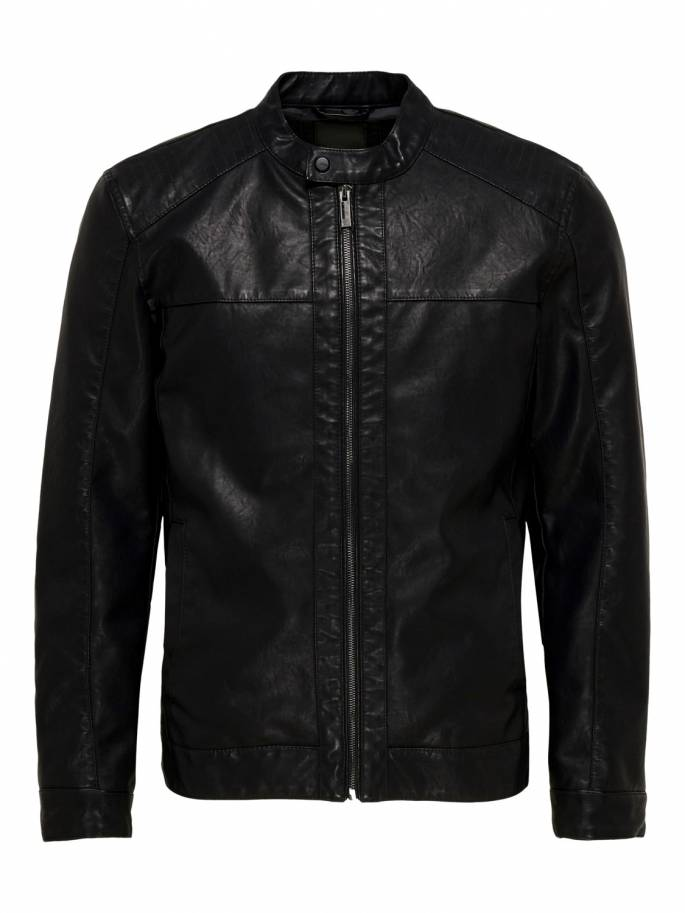 Chaqueta de polipiel en color negro - Only and sons - 22012339 - Uesti