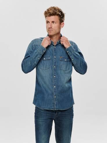 Camisa vaquera con bolsillos en el pecho - Only and sons - 22013876 - Uesti