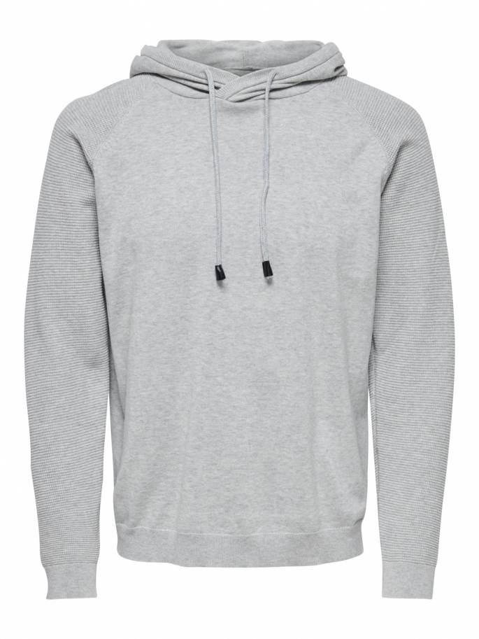 Sudadera de punto con capucha gris - Only and sons - 22013572 - Uesti
