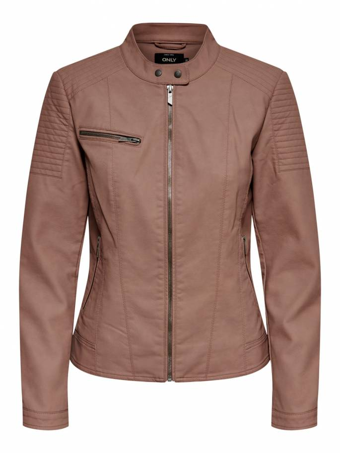 Chaqueta biker de piel sintética color marrón - Only - Uesti