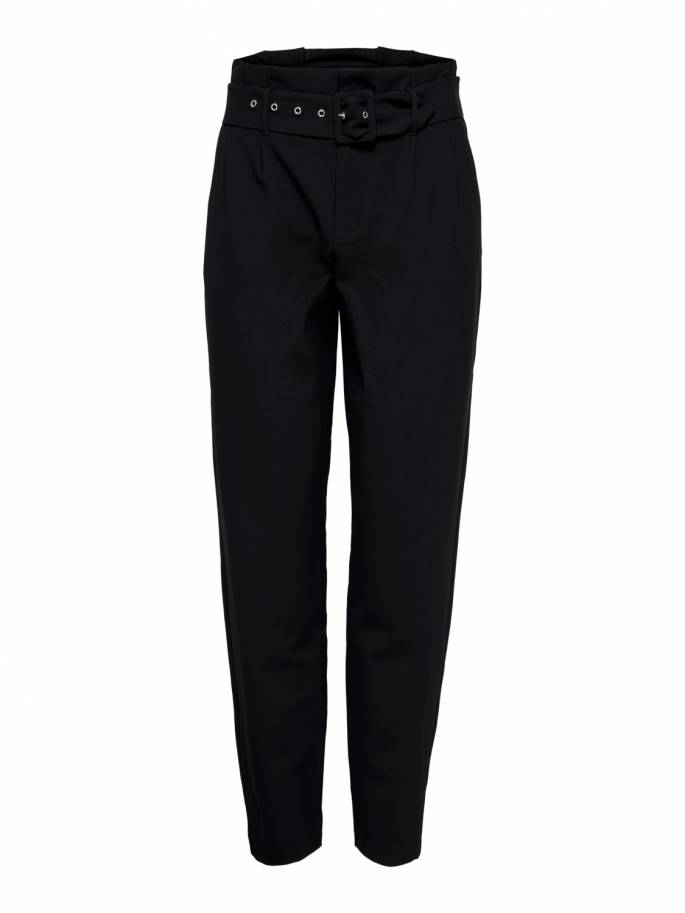 Pantalones tobilleros tipo paper bag de talle alto negro - Only - 15182499 - Uesti