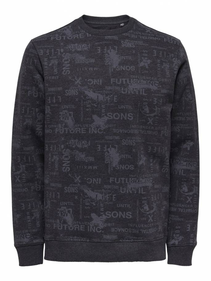 Sudadera con estampado integral en color negro - Only and sons - Uesti